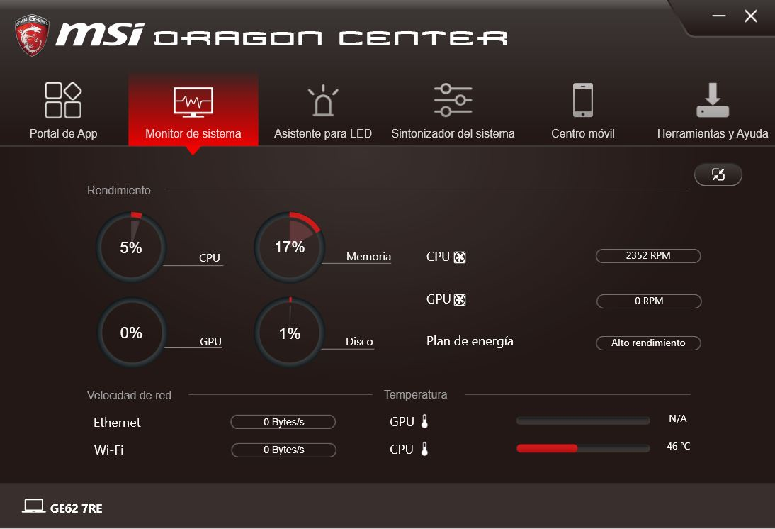 MSI DRAGON CENTER GE62 7RE 2