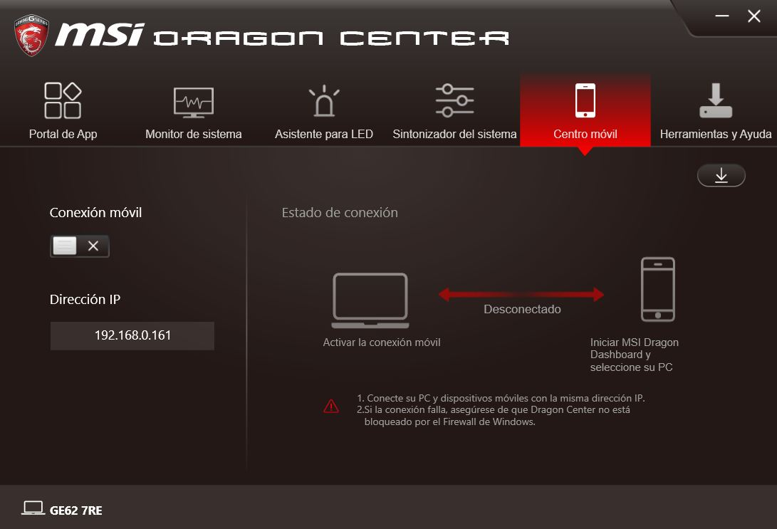 MSI DRAGON CENTER GE62 7RE 5