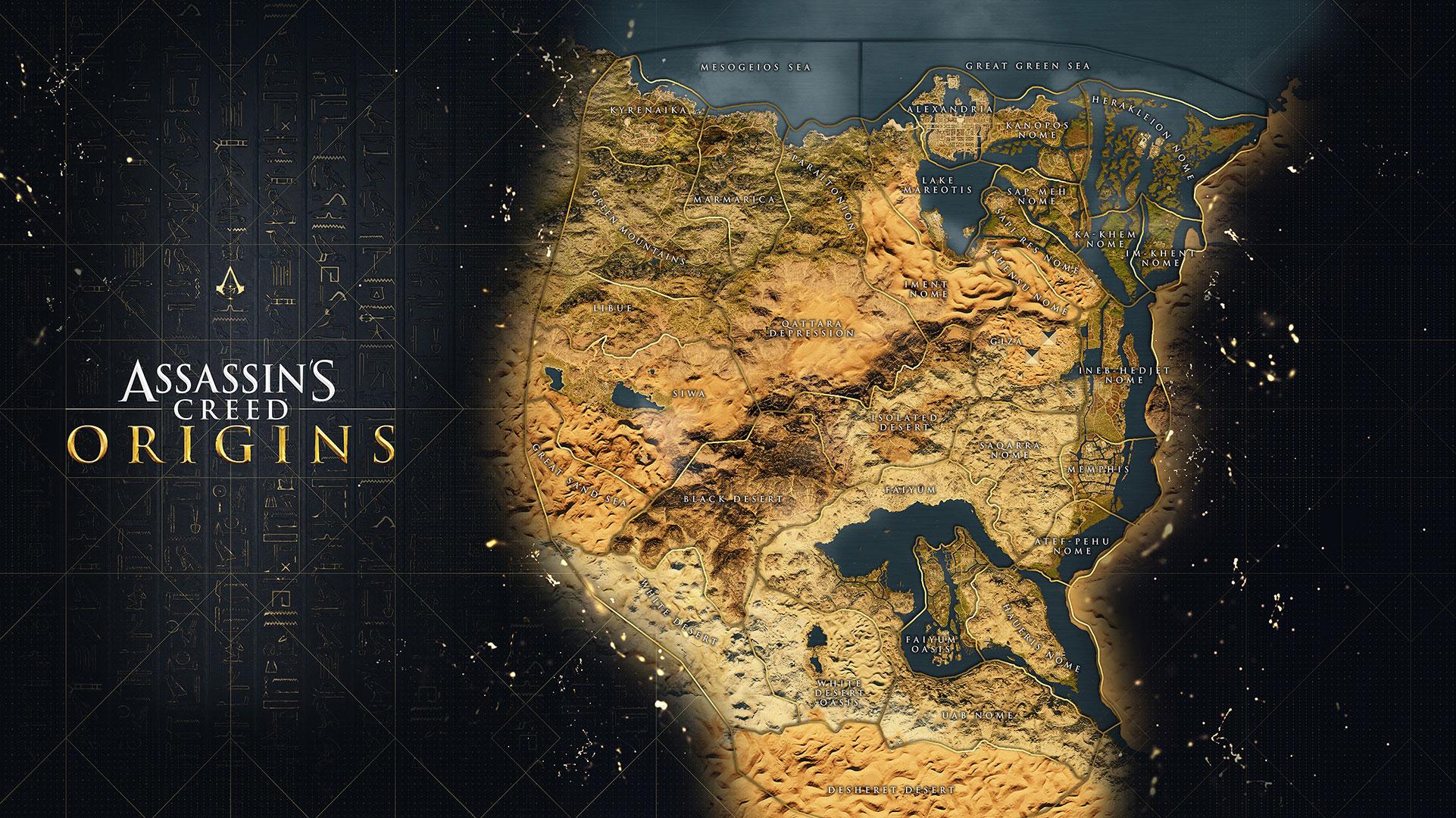 mapa completo de Assassin's Creed Origins
