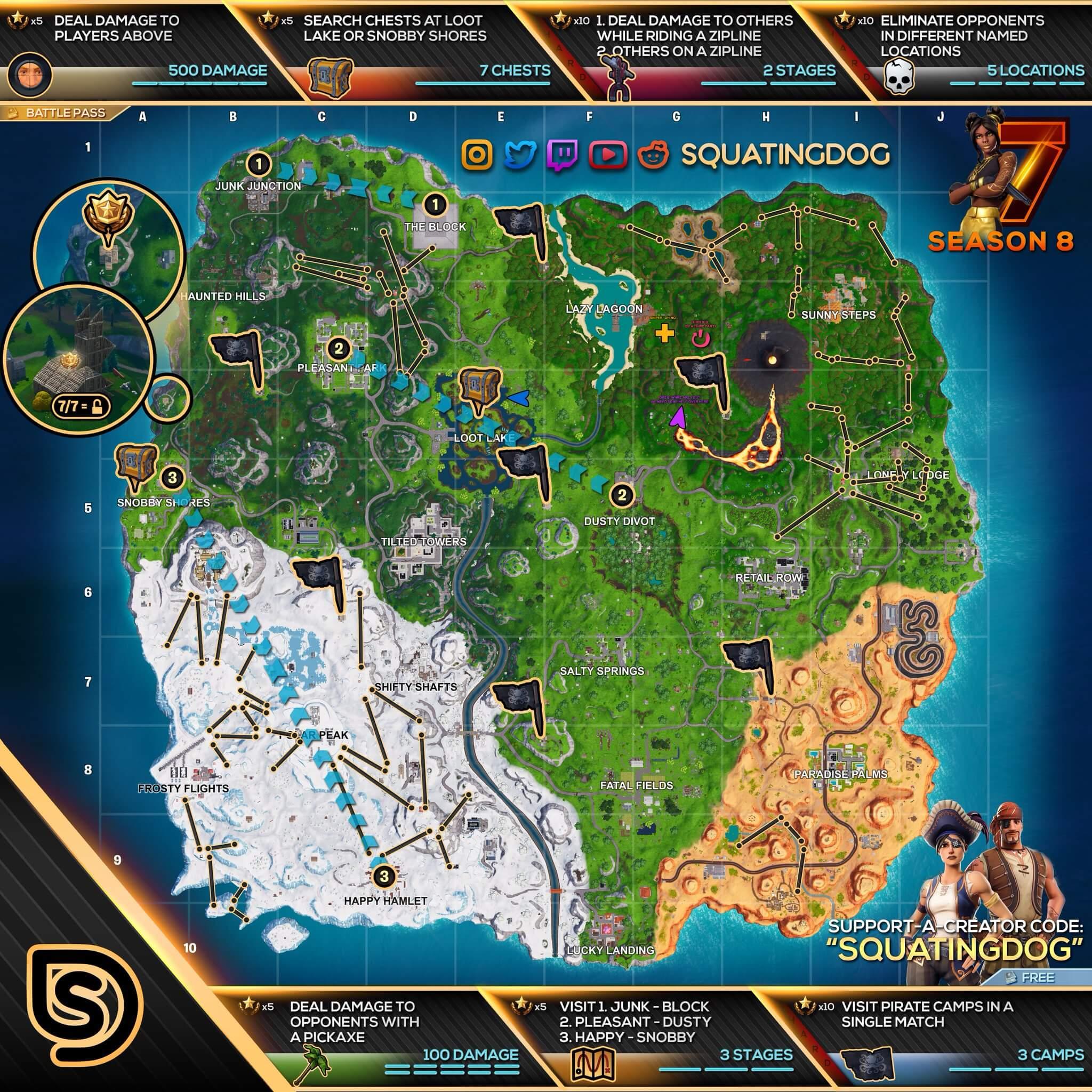 Fortnite Mapa semana 7 de la temporada 8