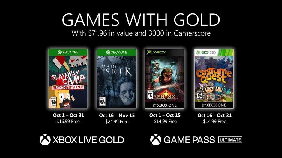 Xbox Gold de octubre 2020